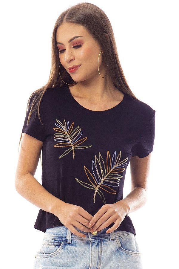 T-Shirt Bana Bana com Bordado de Folhas Preto