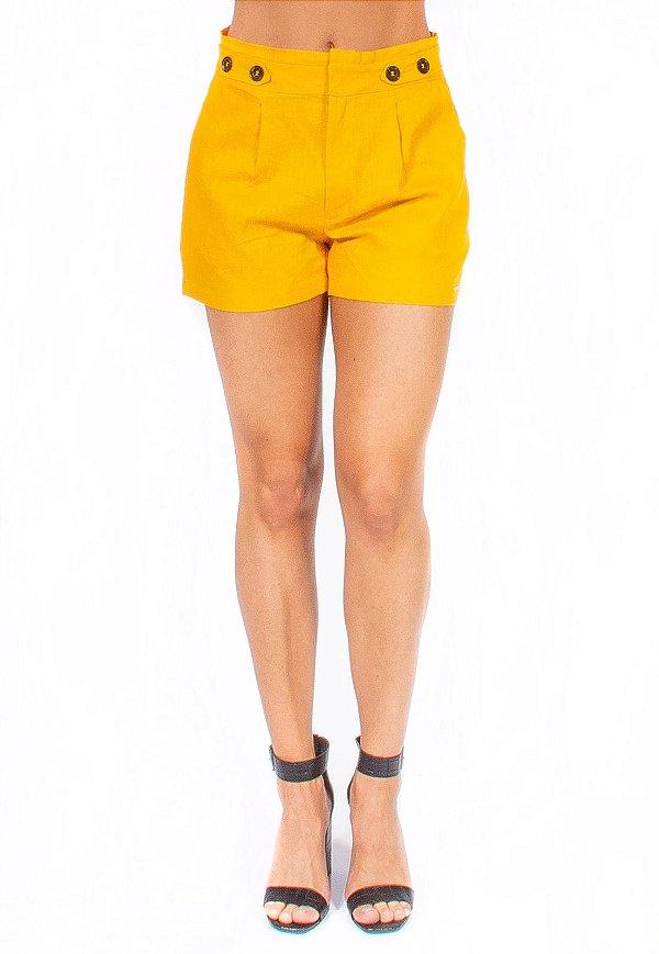 Shorts Bana Bana Alfaiataria em Linho Amarelo