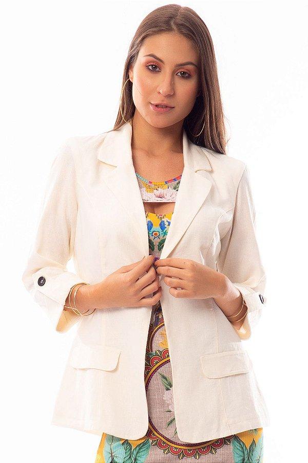 Blazer Alongado Bana Bana em Linho Off White