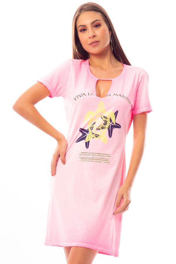 Vestido Curto Bana Bana T-Shirt Rosa Neon
