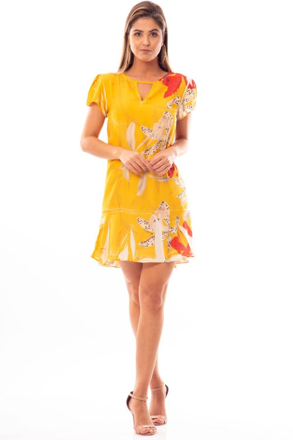Vestido Curto Bana Bana com Babados Estampa Amarillo
