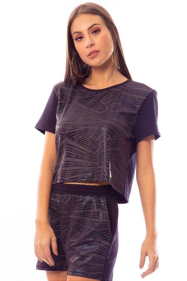 Cropped Bana Bana T-Shirt em Moletom Preto