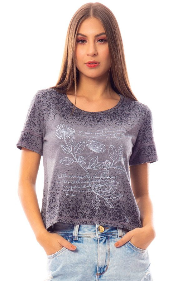 T-Shirt Bana Bana com Estampa Cinza