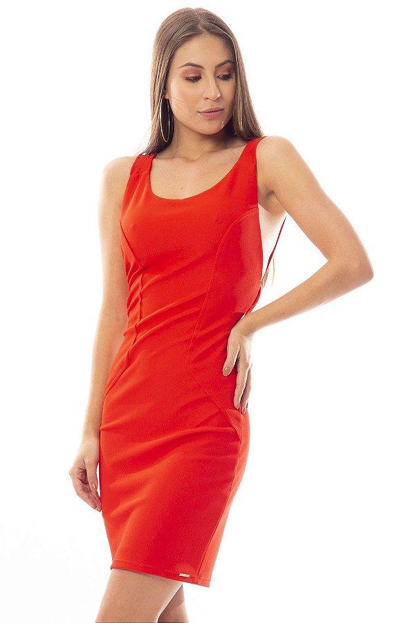 Vestido Curto Bana Bana com Decote Costas Vermelho
