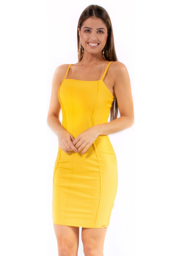 Vestido Curto Bana Bana Canelado Amarelo
