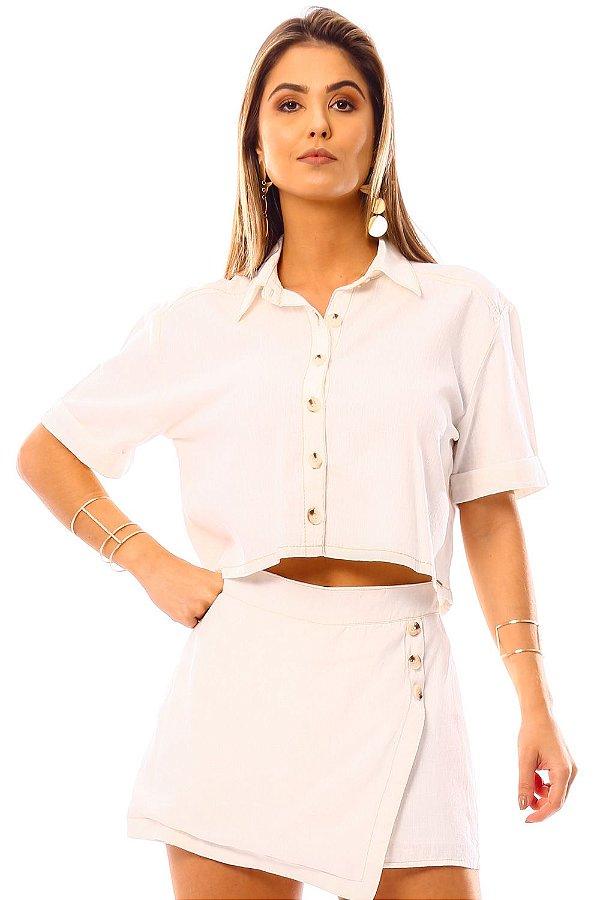 Camisa Bana Bana Cropped com Botões Off White