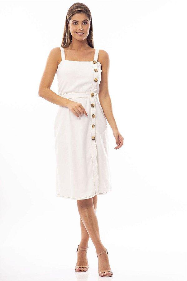 Vestido Midi Bana Bana com Botões em Linho Off White