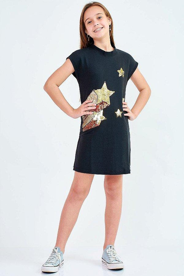 Vestido Curto Bana Bana Star de Moletom com Aplicação