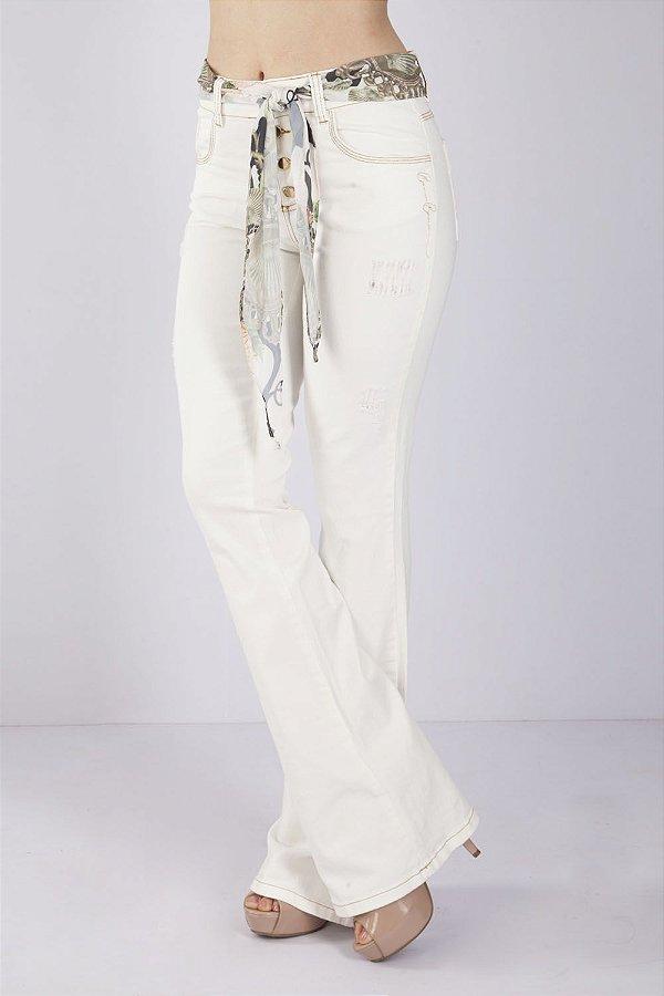 Calça Jeans Bana Bana High Flare Off White