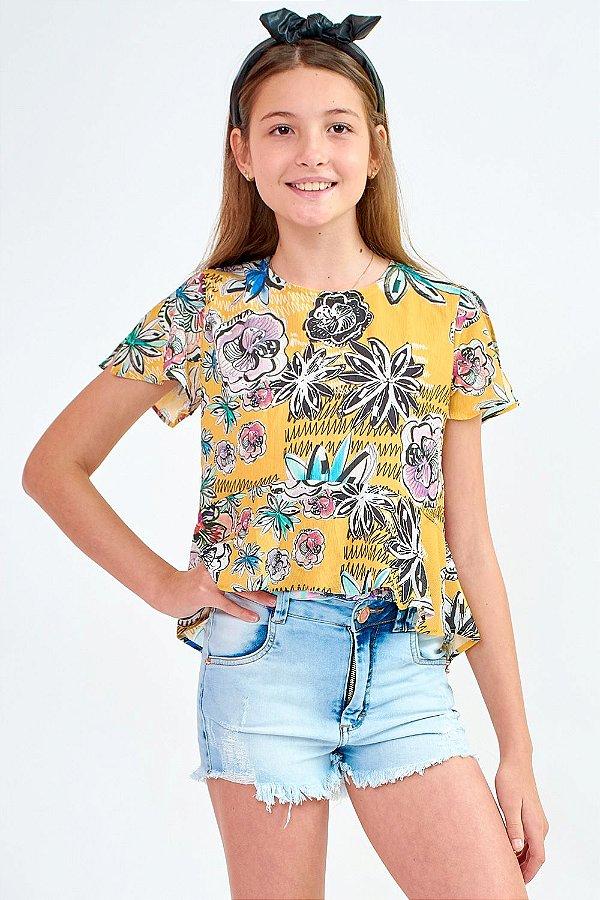 Bata Bana Bana Star Estampada Floral Amarela