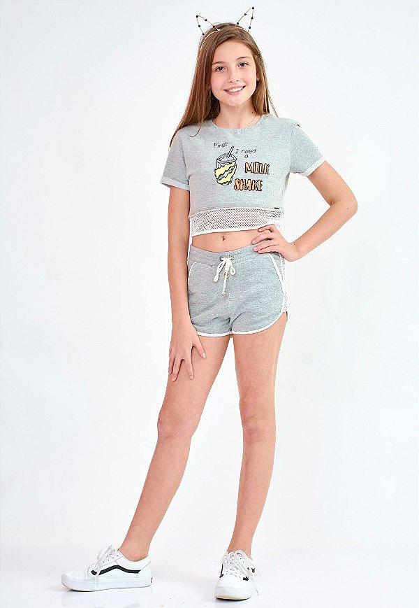 Shorts Bana Bana Star Moletinho Cinza