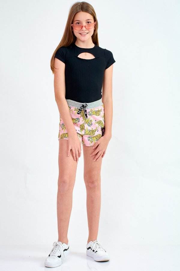 Shorts Bana Bana Star Moletinho Rosa