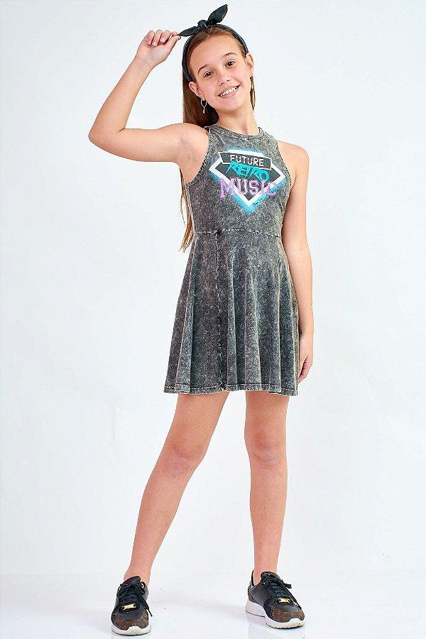 Vestido Bana Bana Star com Lavação Preto