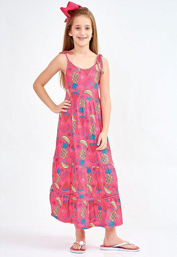 Vestido Bana Bana Star Longo Estampado Rosa