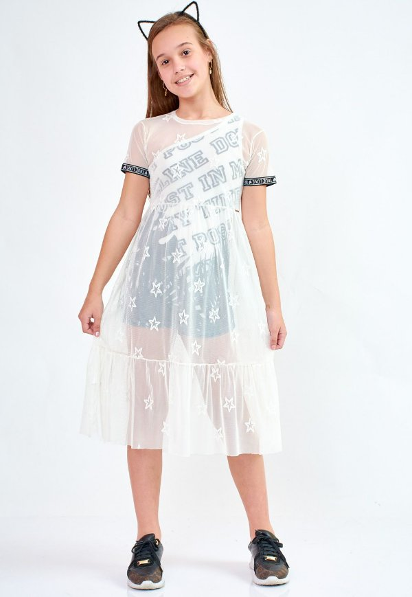 Vestido Bana Bana com Tule Off White