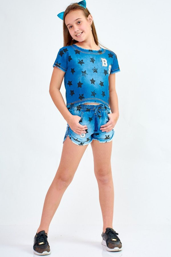 Shorts Jeans Bana Bana Star Estampa Estrelas