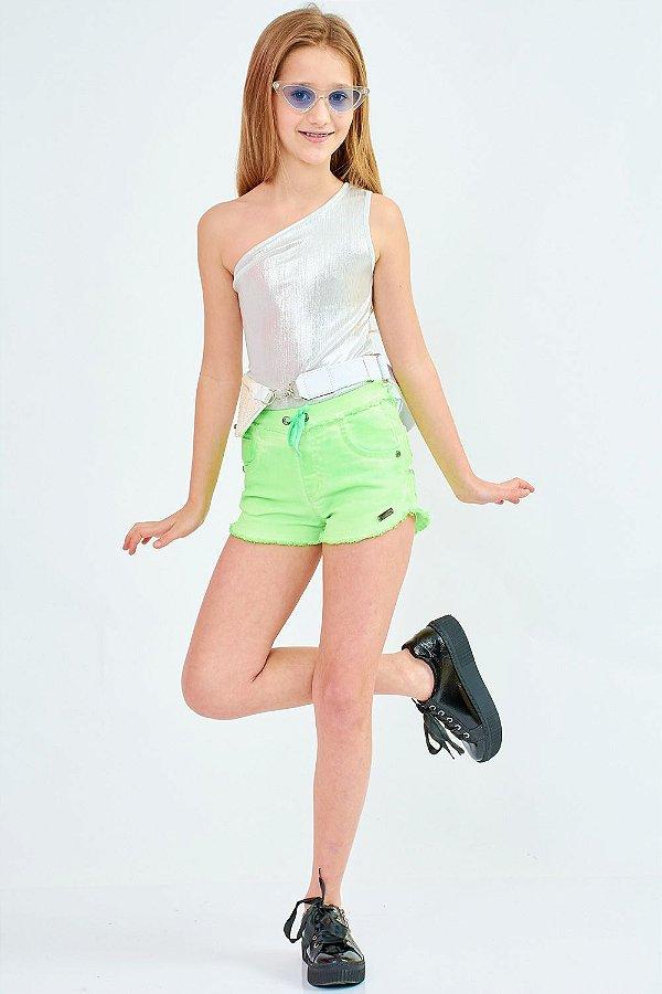 Shorts Jeans Bana Bana Star Verde Neon