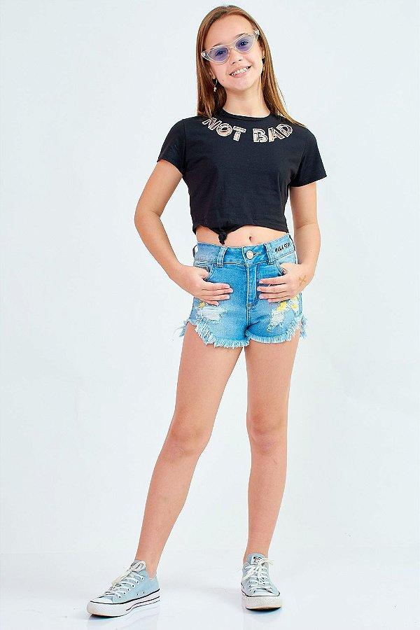Shorts Jeans Bana Bana com Estampada