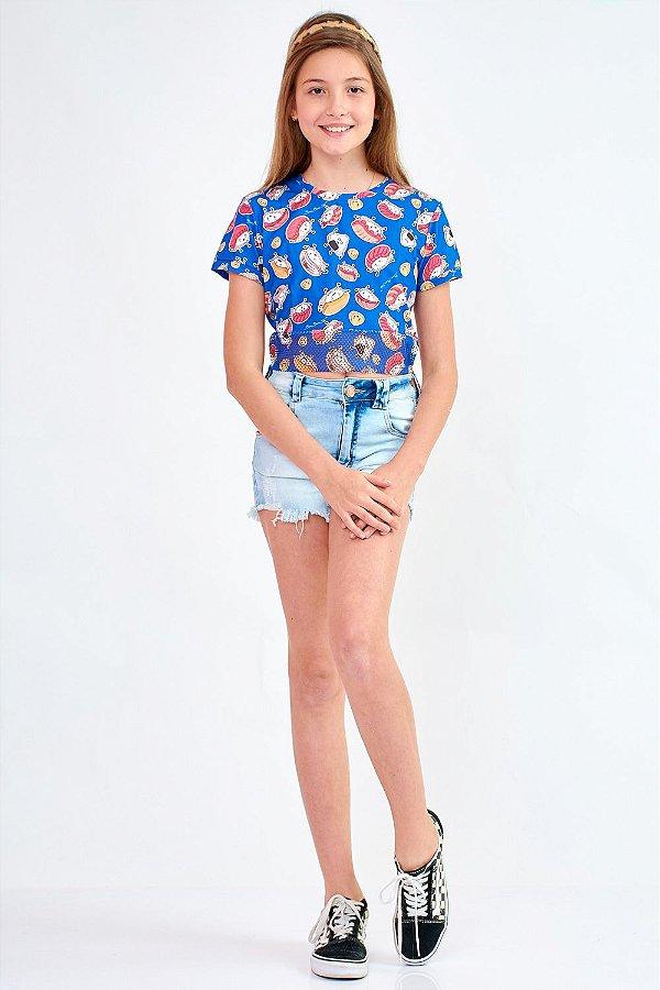 Shorts Jeans Bana Bana Star com Barra Desfiada