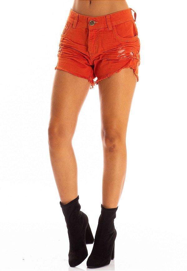 Shorts Jeans Bana Bana com Destroyed Terracota