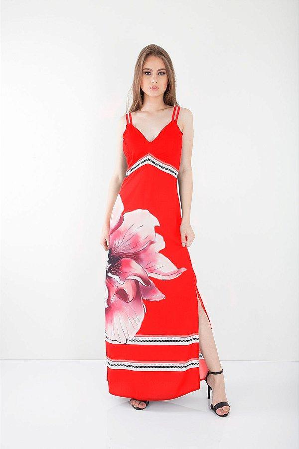 Vestido Longo Bana Bana com Fenda Estampa Floral Vermelho