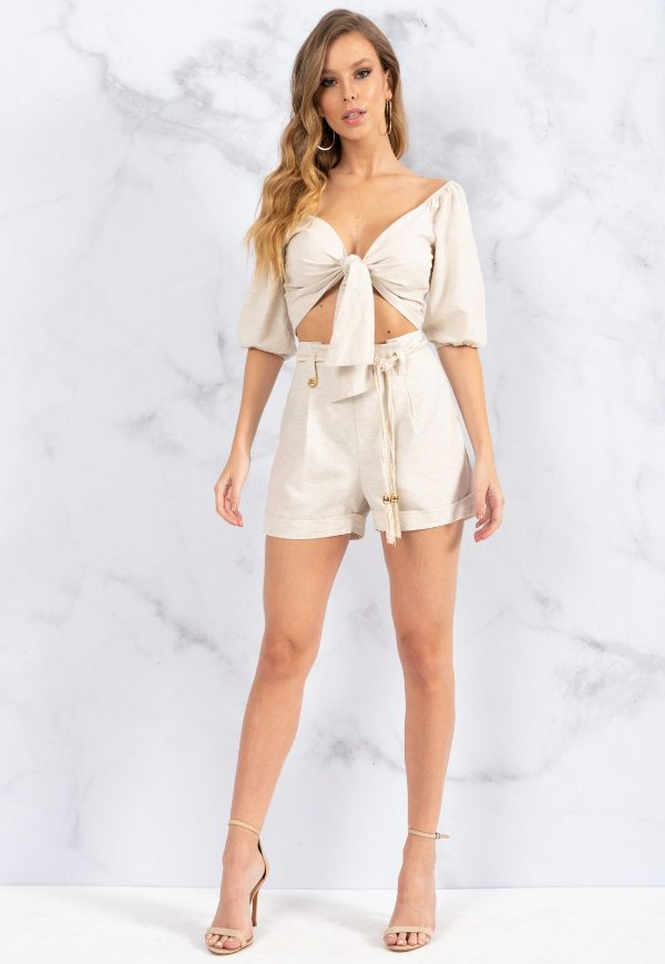 Shorts Bana Bana Megan com Cinto Natural