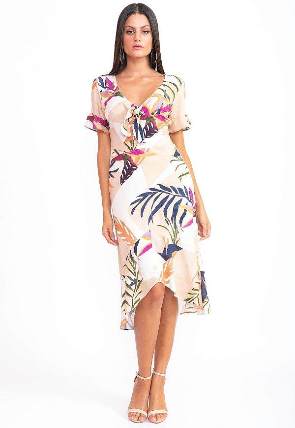 Vestido Midi Bana Bana com Transpasse Estampado Flor del Desierto