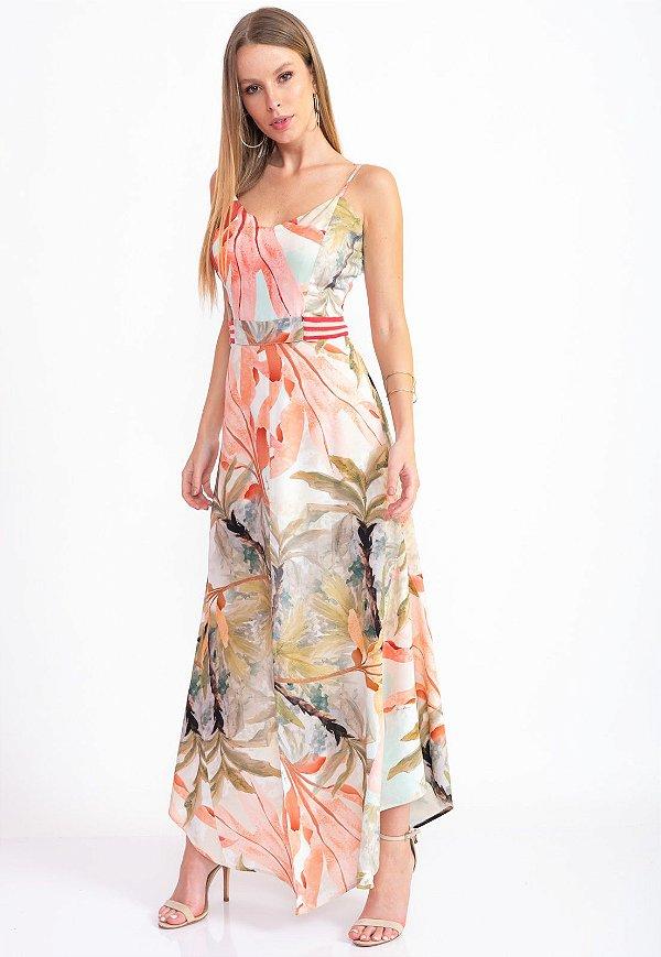 Vestido Longo Bana Bana com Barra Assimétrica Estampado El Paraíso