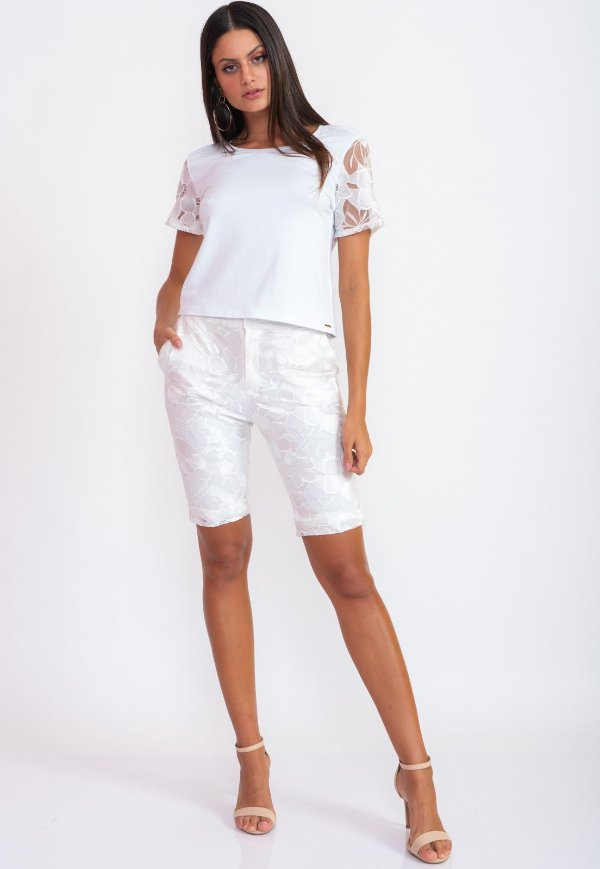 Conjunto Bana Bana Bermuda Biker e Blusa T-Shirt Renda Branca