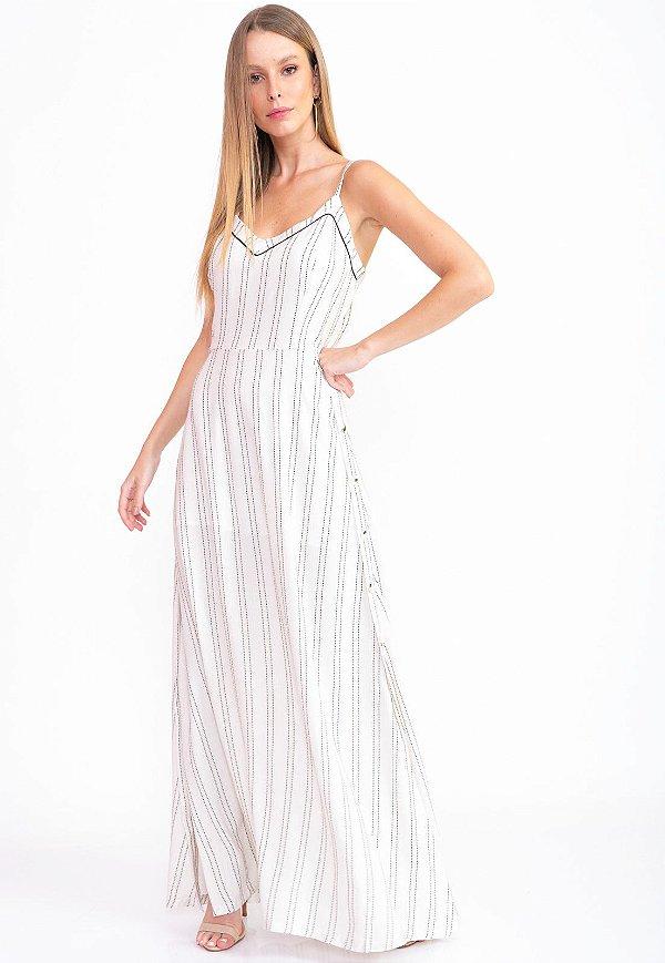Vestido Longo Bana Bana com Listras Off White
