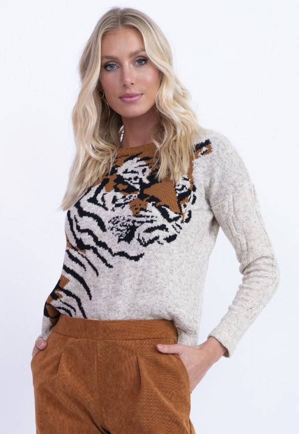 BLUSA TRICOT TIGRE CAUSAL - BEGE