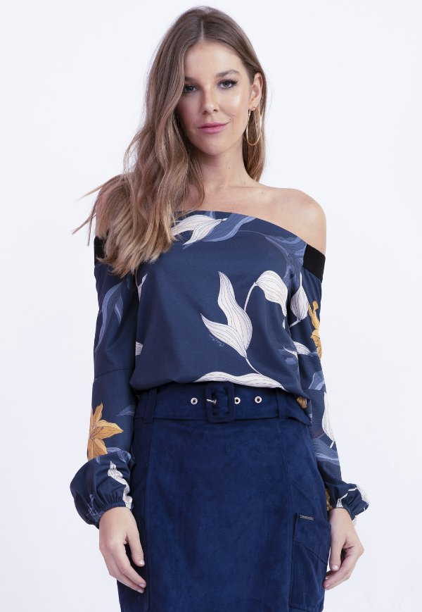 BLUSA OMBRO A OMBRO HAPPY HOUR - WATER FLOWERS