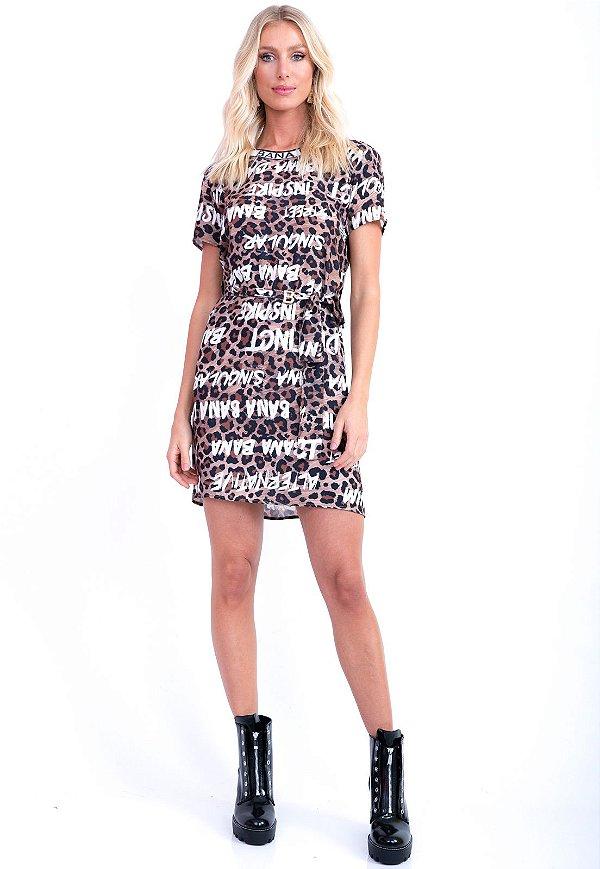 Vestido Bana Bana T-Shirt Lettering Animal Print Onça Savana