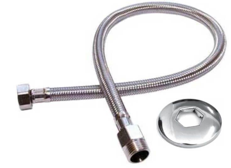Mangueira Engate Flexível Aço Inox 40 Cm 1/2 Entrada Água