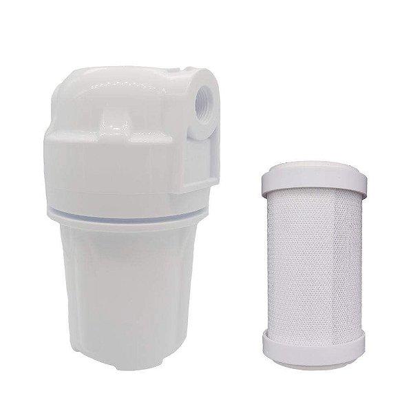 carcaça filtro externo + filtro refil carvão 5mm