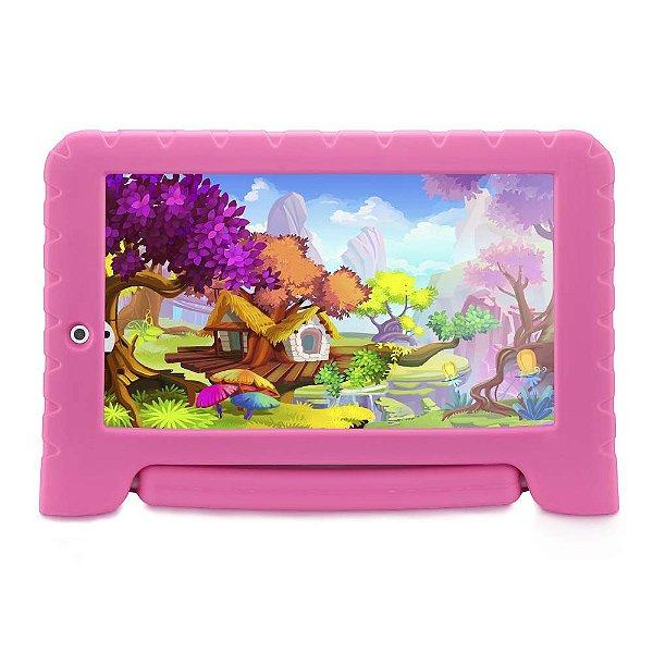 "Tablet Multilaser Kit Pad Plus 7"" NB279 512Mb Ram 8GB Rosa"
