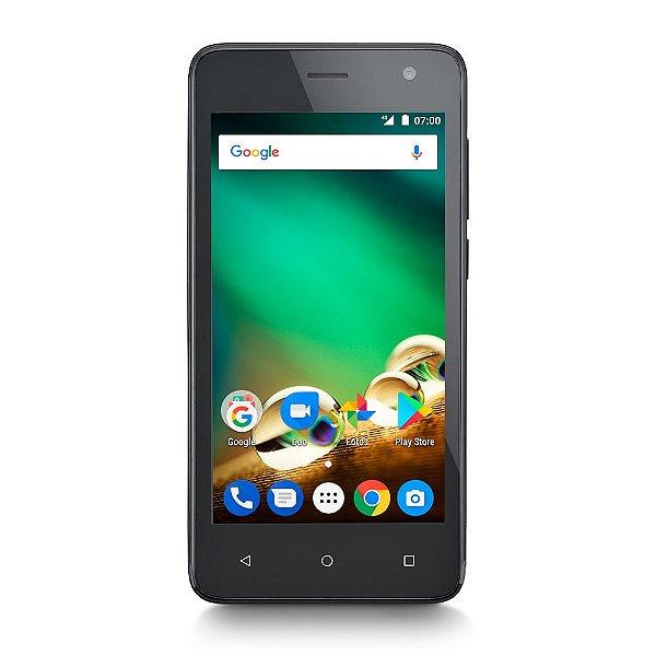 "SMARTPHONE MULTILASER MS45 P9062 4G 1GB PRETO TELA 4.5"" CÂMERA 8 MP + 5 MP QUAD CORE 8GB ANDROID 7.0"
