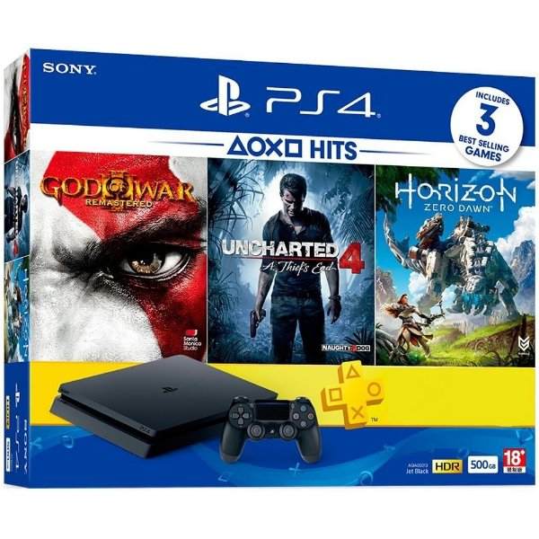 Console Playstation 4 500gb CUH-2015A God of War 3 + Uncharted 4 + Horizon Zero Dawn