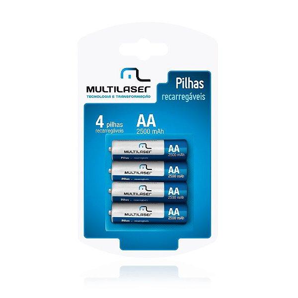 Pilha Multilaser Recarregavel AA com 4 CB052