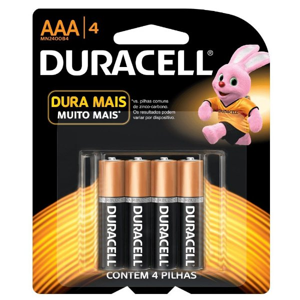 Pilha Duracell Alcalina AAA com 4 MN2400B4