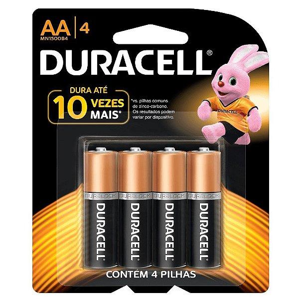 Pilha Duracell Alcalina AA com 4 MN1500B4