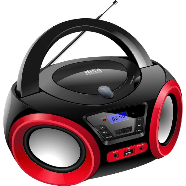 Boombox Lenoxx Bd1370 Preto E Vermelho