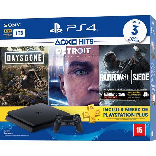 Console Playstation 4 1tb CUH-2214B Days Gone + Detroit + Rainbow Six Siege