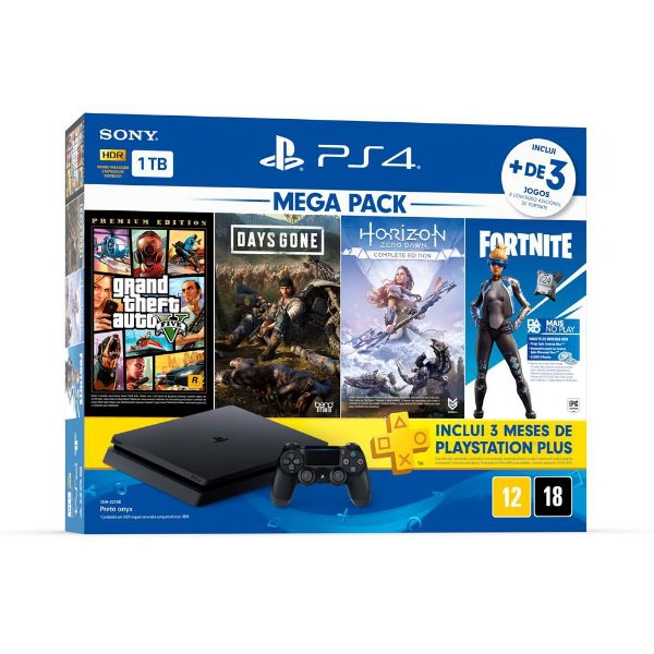 Console PlayStation 4 1Tb CUH-2214B Gta V + Days Gone + Horizon Zero Dawn + Fortnite