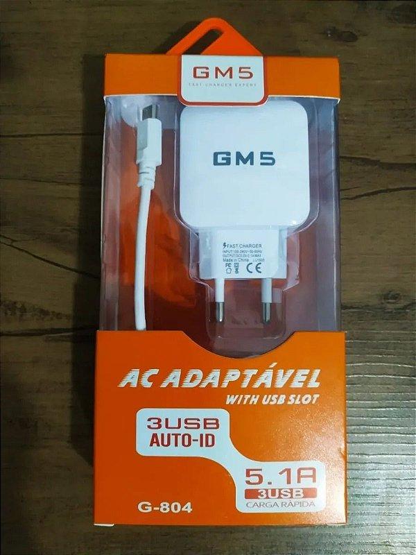 Carregador GM5 Tipo-C G-804 com 3 USB 5.1A