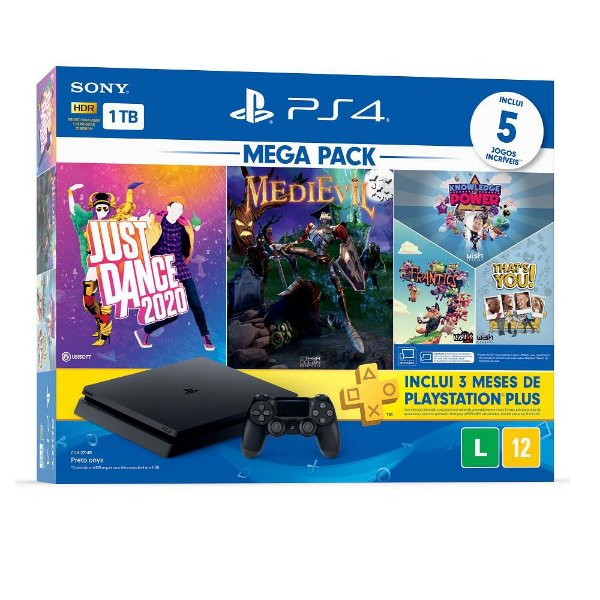 Console PlayStation 4 1Tb Cuh-2214B Just Dance 2020 + MediEvil + Knowledge is Power, Frantics e That's You