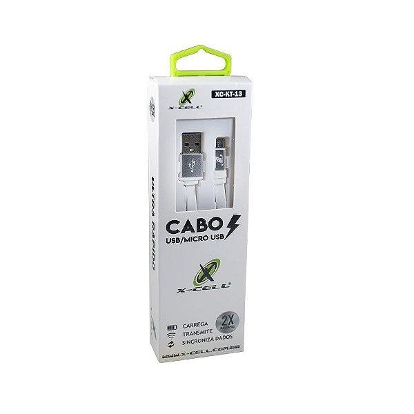 Cabo USB para Micro USB X-Cell XC-KT-13 1,2 Metro Branco
