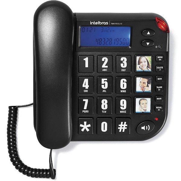Telefone Intelbras Tok Facil ID com Fio Preto