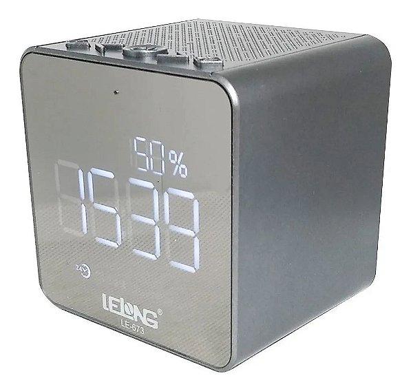 RADIO RELOGIO LE-673 BT LELONG 2 FAIXAS AM/FM CINZ
