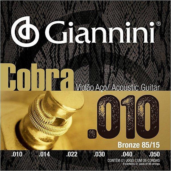 ENCORDOAMENTO P/ VIOLAO GEEFLE GIANNINI COBRA .010